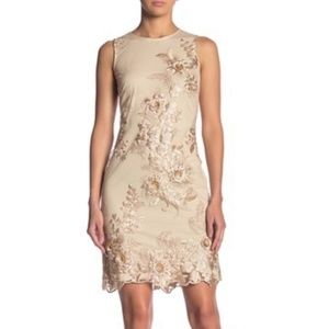 Donna Ricco Gold Embossed Embroidered Sheath Dress